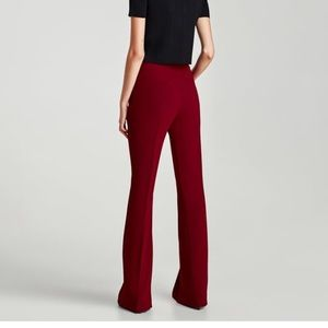 Zara dark red flare trousers
